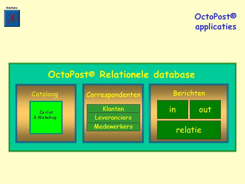 OctoPost ® Relationele database Klanten Leveranciers Medewerkers Correspondenten in Berichten out relatie OctoPost® applicaties