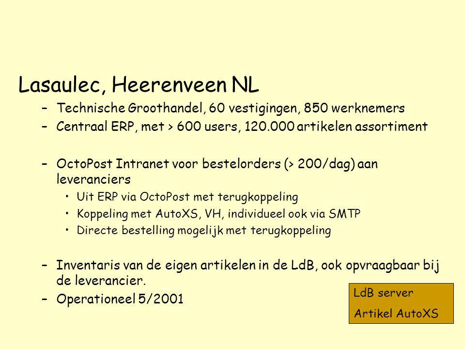 Lasaulec, Heerenveen NL –Technische Groothandel, 60 vestigingen, 850 werknemers –Centraal ERP, met > 600 users, 120.000 artikelen assortiment –OctoPos