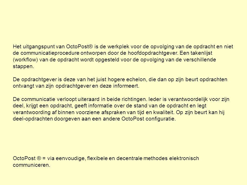 Het uitgangspunt van OctoPost® is de werkplek voor de opvolging van de opdracht en niet de communicatieprocedure ontworpen door de hoofdopdrachtgever.
