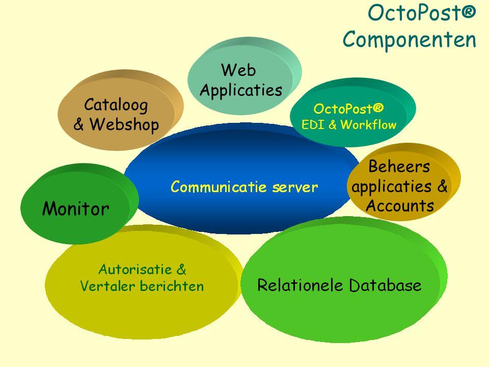 OctoPost ® Componenten Beheers applicaties & Accounts Monitor Cataloog & Webshop Web Applicaties OctoPost® EDI & Workflow