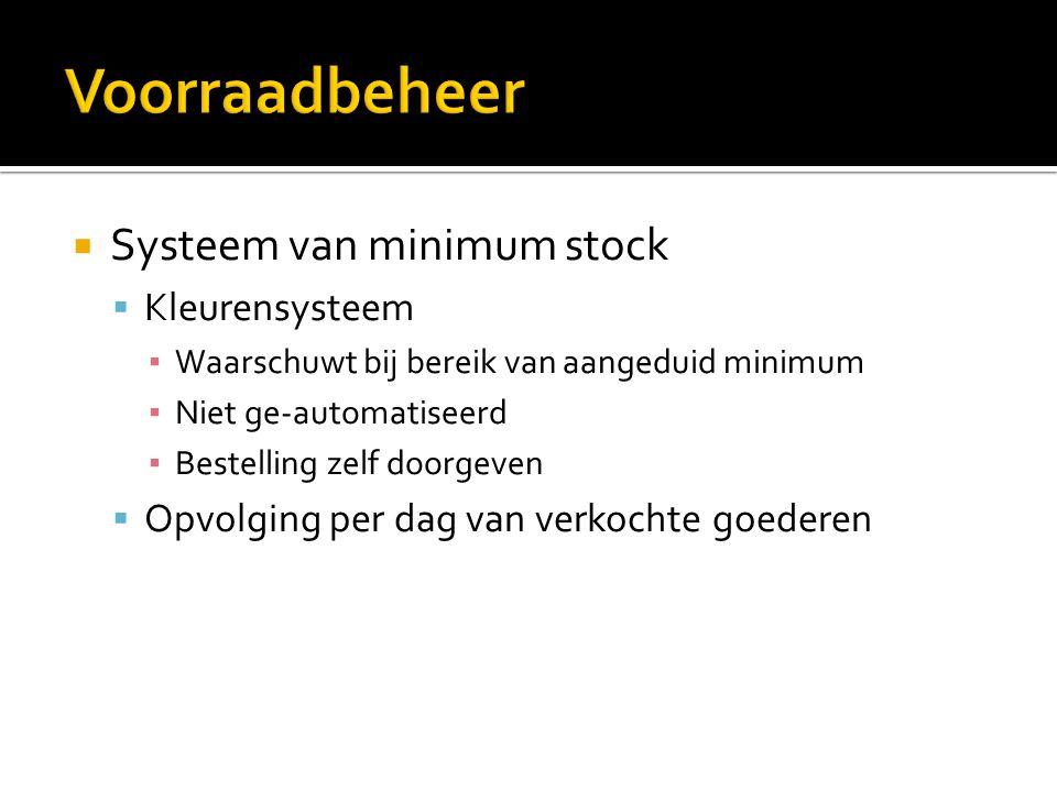  Systeem van minimum stock  Kleurensysteem ▪ Waarschuwt bij bereik van aangeduid minimum ▪ Niet ge-automatiseerd ▪ Bestelling zelf doorgeven  Opvol