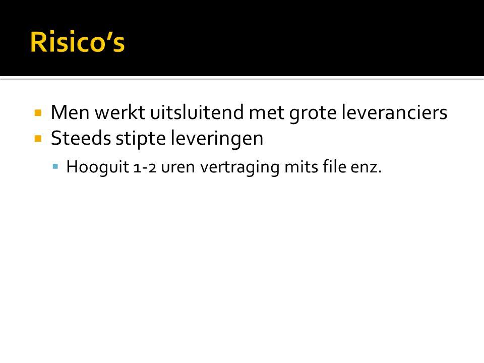  Men werkt uitsluitend met grote leveranciers  Steeds stipte leveringen  Hooguit 1-2 uren vertraging mits file enz.