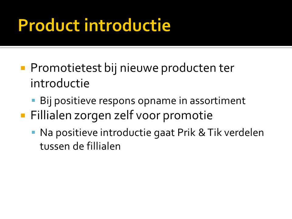  Promotietest bij nieuwe producten ter introductie  Bij positieve respons opname in assortiment  Fillialen zorgen zelf voor promotie  Na positieve
