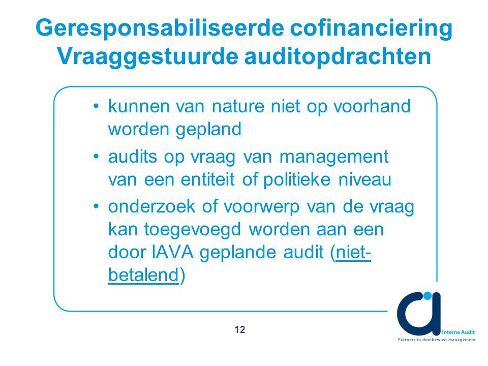Geresponsabiliseerde cofinanciering Vraaggestuurde auditopdrachten kunnen van nature niet op voorhand worden gepland audits op vraag van management van een entiteit of politieke niveau onderzoek of voorwerp van de vraag kan toegevoegd worden aan een door IAVA geplande audit (niet- betalend) 12