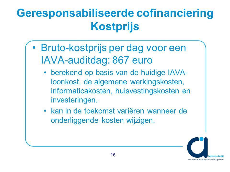 Geresponsabiliseerde cofinanciering Kostprijs Bruto-kostprijs per dag voor een IAVA-auditdag: 867 euro berekend op basis van de huidige IAVA- loonkost, de algemene werkingskosten, informaticakosten, huisvestingskosten en investeringen.