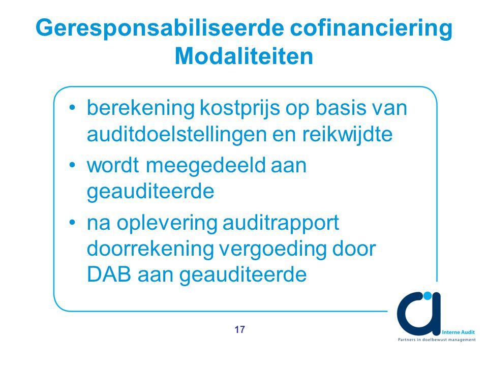 Geresponsabiliseerde cofinanciering Modaliteiten berekening kostprijs op basis van auditdoelstellingen en reikwijdte wordt meegedeeld aan geauditeerde na oplevering auditrapport doorrekening vergoeding door DAB aan geauditeerde 17