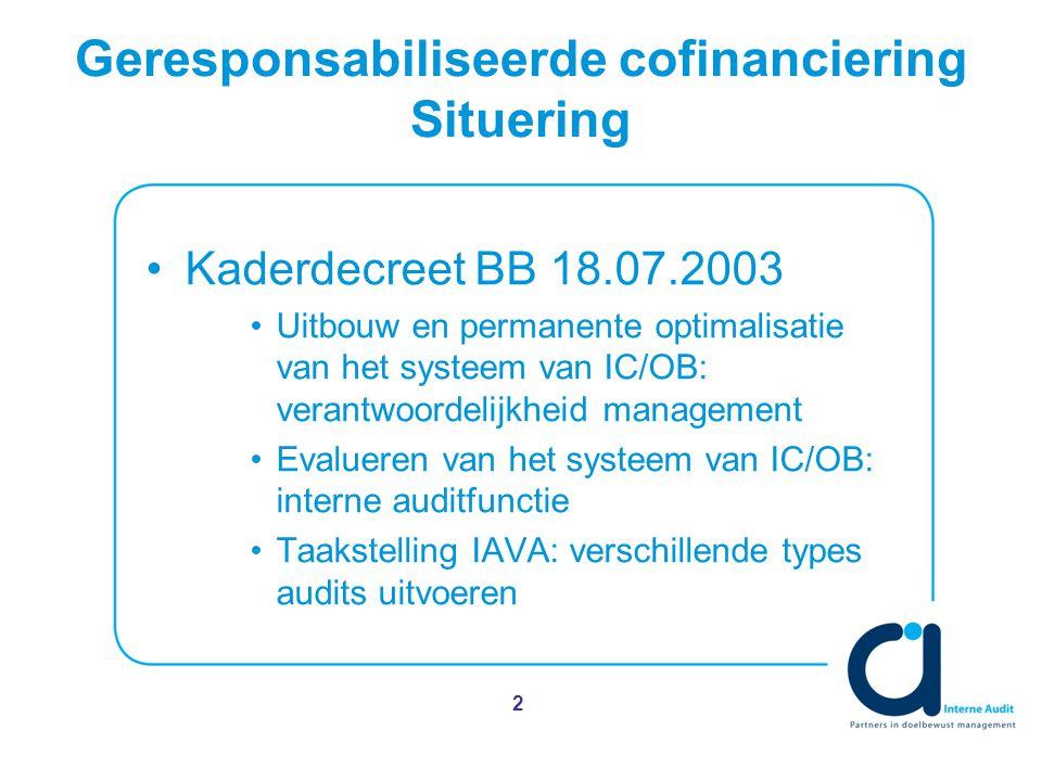 2 Geresponsabiliseerde cofinanciering Situering Kaderdecreet BB 18.07.2003 Uitbouw en permanente optimalisatie van het systeem van IC/OB: verantwoordelijkheid management Evalueren van het systeem van IC/OB: interne auditfunctie Taakstelling IAVA: verschillende types audits uitvoeren
