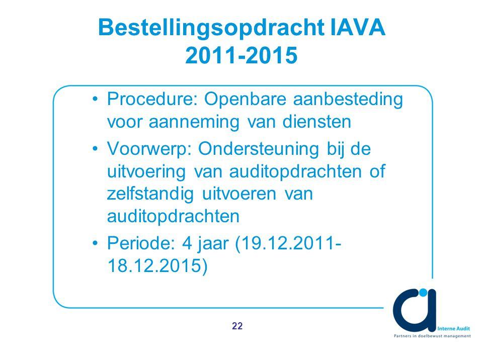 Bestellingsopdracht IAVA 2011-2015 Procedure: Openbare aanbesteding voor aanneming van diensten Voorwerp: Ondersteuning bij de uitvoering van auditopdrachten of zelfstandig uitvoeren van auditopdrachten Periode: 4 jaar (19.12.2011- 18.12.2015) 22