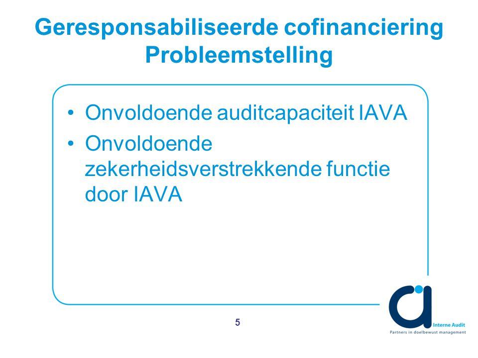 Geresponsabiliseerde cofinanciering Probleemstelling Onvoldoende auditcapaciteit IAVA Onvoldoende zekerheidsverstrekkende functie door IAVA 5
