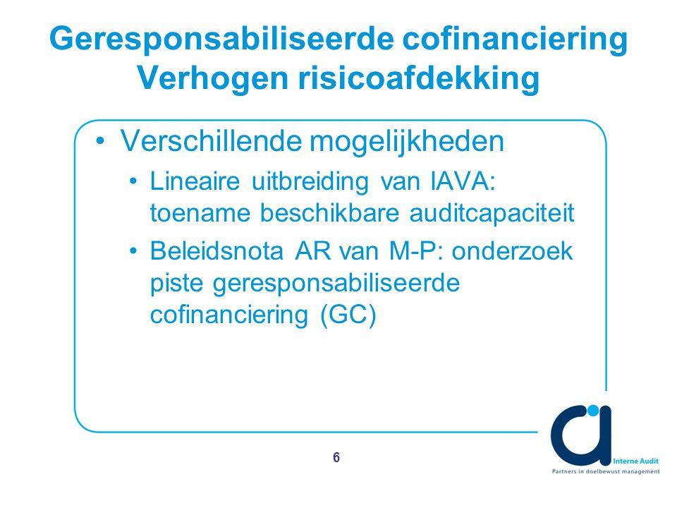 Geresponsabiliseerde cofinanciering Verhogen risicoafdekking Verschillende mogelijkheden Lineaire uitbreiding van IAVA: toename beschikbare auditcapaciteit Beleidsnota AR van M-P: onderzoek piste geresponsabiliseerde cofinanciering (GC) 6