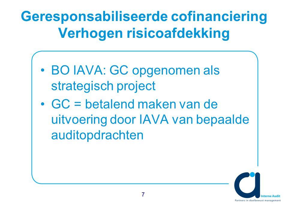 Geresponsabiliseerde cofinanciering Verhogen risicoafdekking BO IAVA: GC opgenomen als strategisch project GC = betalend maken van de uitvoering door IAVA van bepaalde auditopdrachten 7
