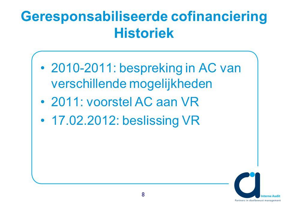 Geresponsabiliseerde cofinanciering Historiek 2010-2011: bespreking in AC van verschillende mogelijkheden 2011: voorstel AC aan VR 17.02.2012: beslissing VR 8