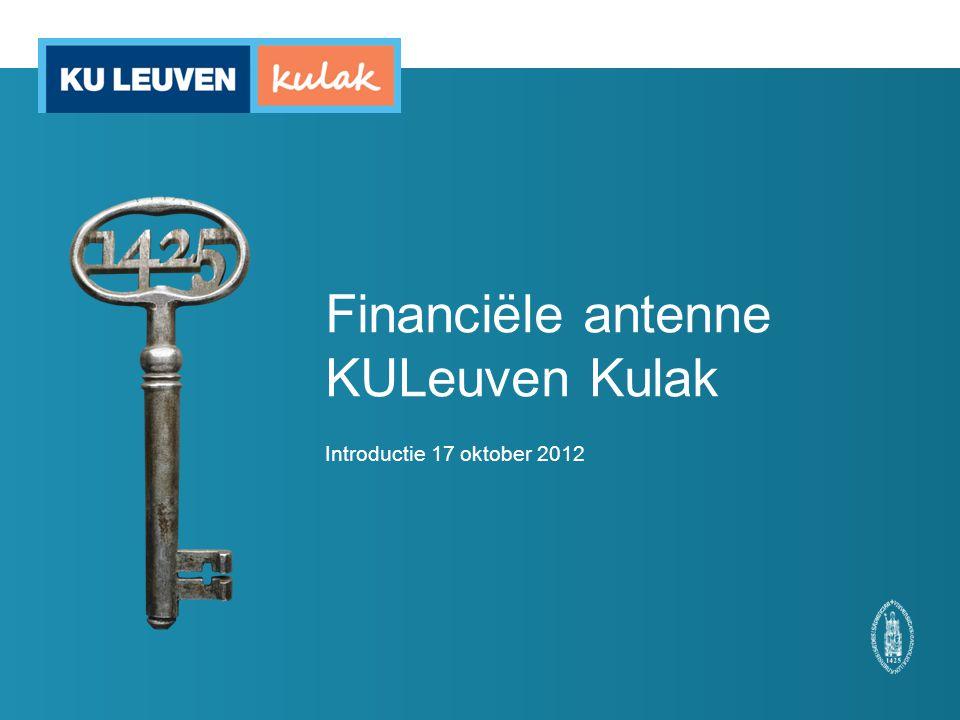 Financiële antenne KULeuven Kulak Introductie 17 oktober 2012