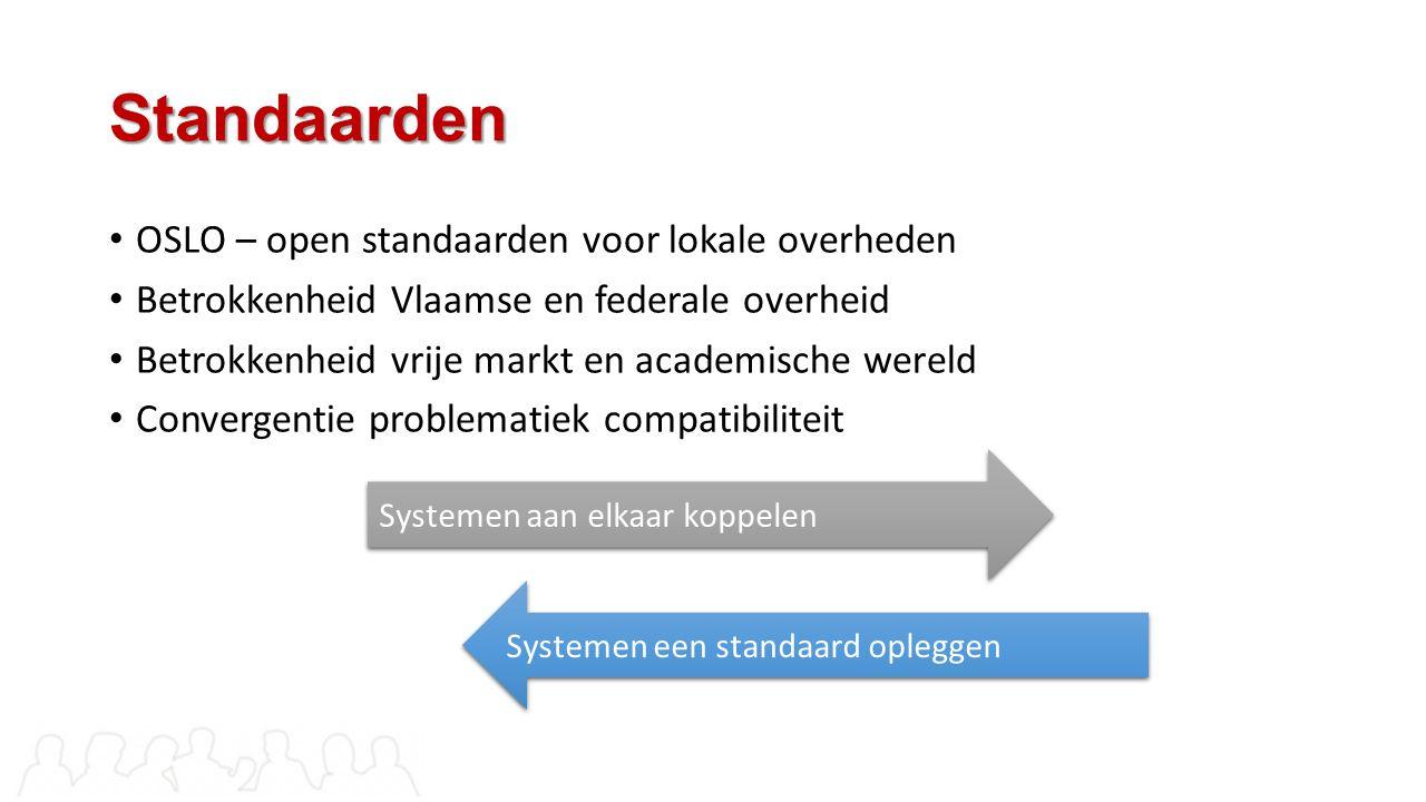 Standaarden OSLO – open standaarden voor lokale overheden Betrokkenheid Vlaamse en federale overheid Betrokkenheid vrije markt en academische wereld C