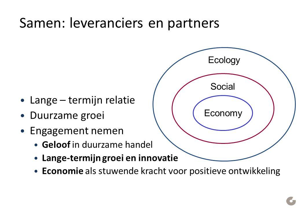 Samen: leveranciers en partners Lange – termijn relatie Duurzame groei Engagement nemen Geloof in duurzame handel Lange-termijn groei en innovatie Economie als stuwende kracht voor positieve ontwikkeling Ecology Social Economy