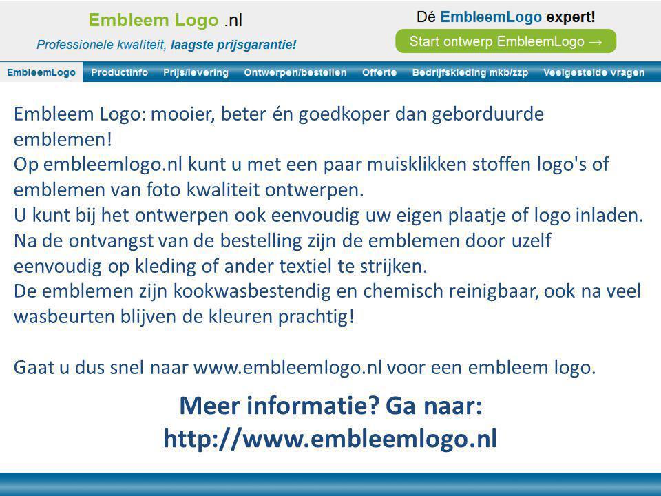 Embleem Logo: mooier, beter én goedkoper dan geborduurde emblemen.
