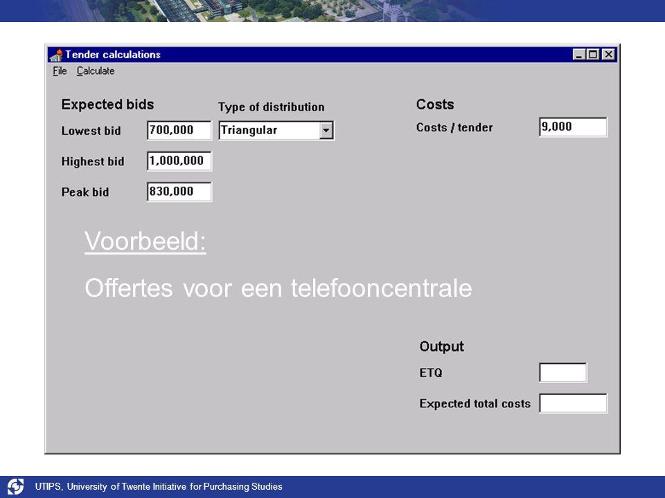 UTIPS, University of Twente Initiative for Purchasing Studies Voorbeeld: Offertes voor een telefooncentrale
