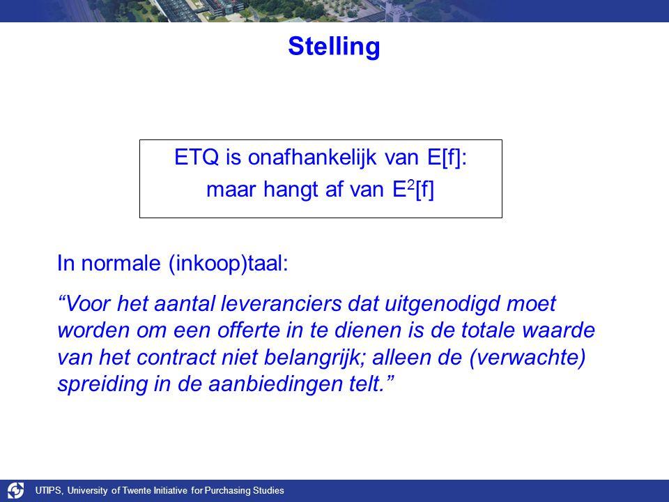 """Stelling ETQ is onafhankelijk van E[f]: maar hangt af van E 2 [f] In normale (inkoop)taal: """"Voor het aantal leveranciers dat uitgenodigd moet worden o"""