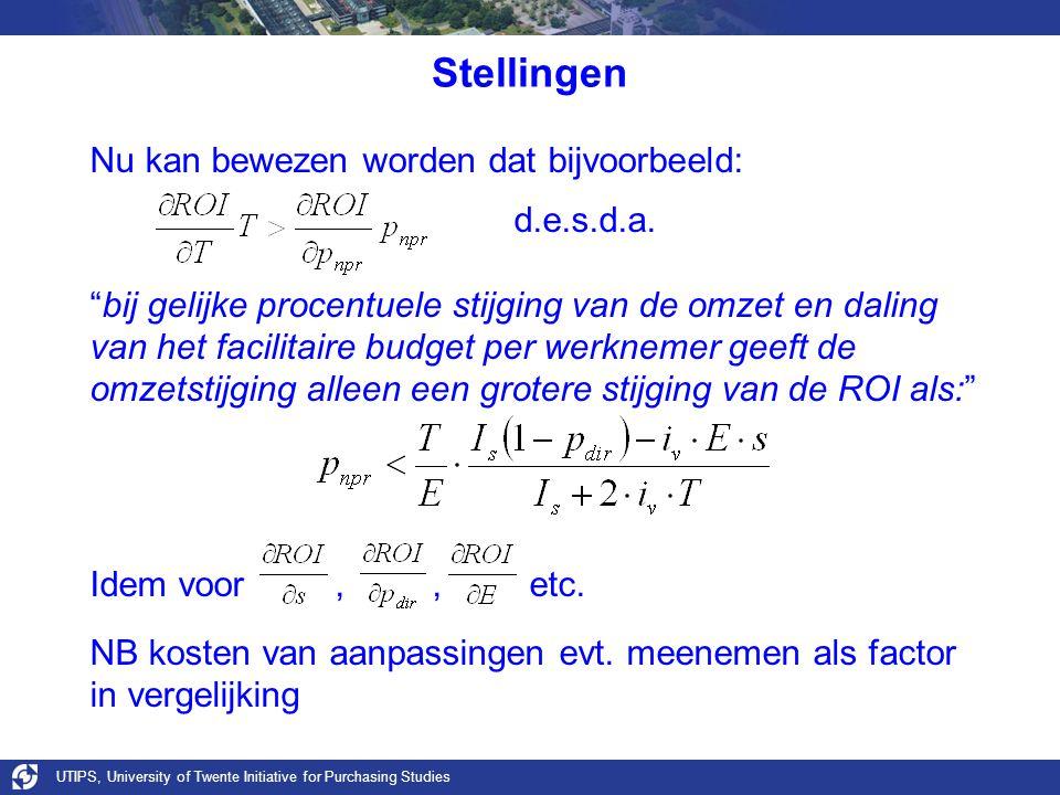 UTIPS, University of Twente Initiative for Purchasing Studies Stellingen Nu kan bewezen worden dat bijvoorbeeld: d.e.s.d.a.