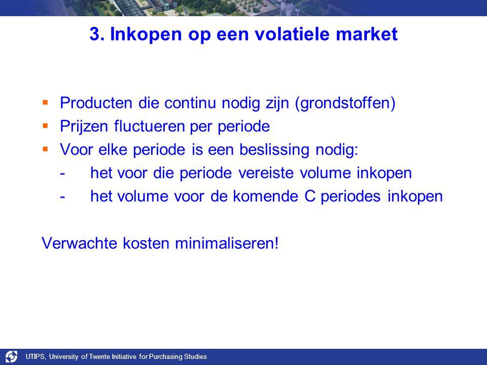UTIPS, University of Twente Initiative for Purchasing Studies 3. Inkopen op een volatiele market  Producten die continu nodig zijn (grondstoffen)  P