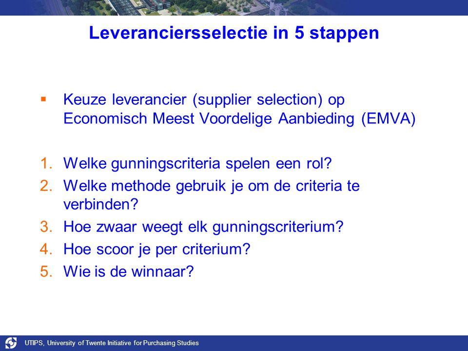 UTIPS, University of Twente Initiative for Purchasing Studies Leveranciersselectie in 5 stappen  Keuze leverancier (supplier selection) op Economisch