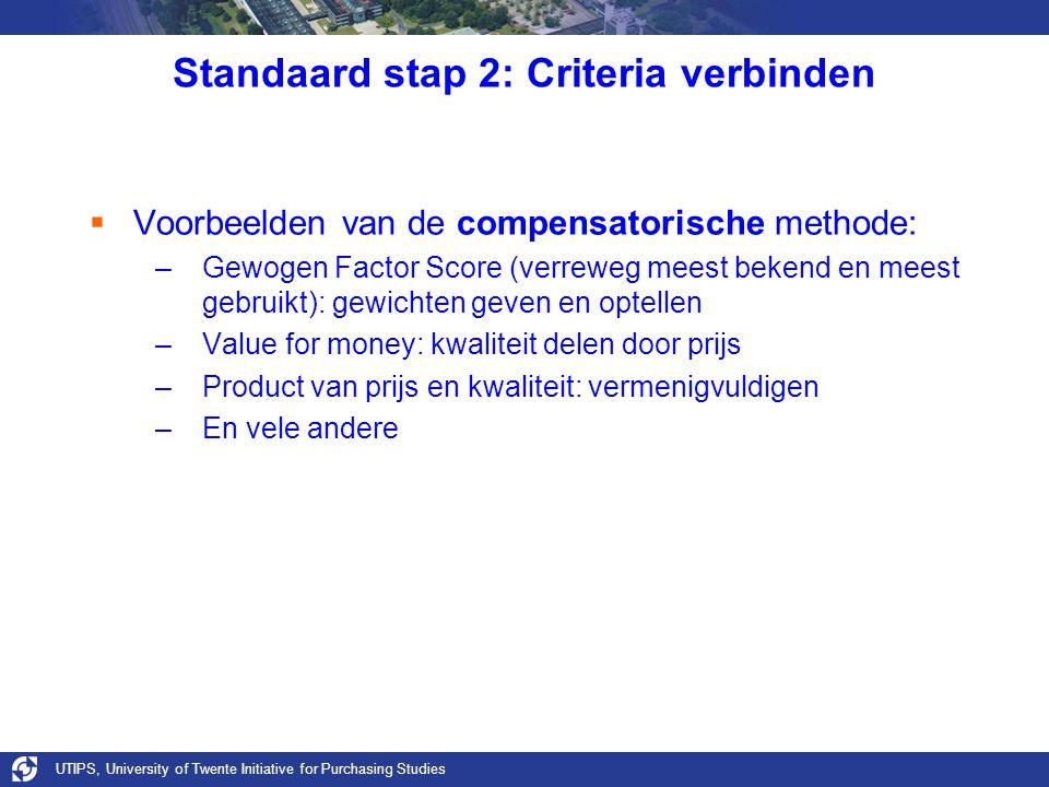UTIPS, University of Twente Initiative for Purchasing Studies Standaard stap 2: Criteria verbinden  Voorbeelden van de compensatorische methode: –Gew