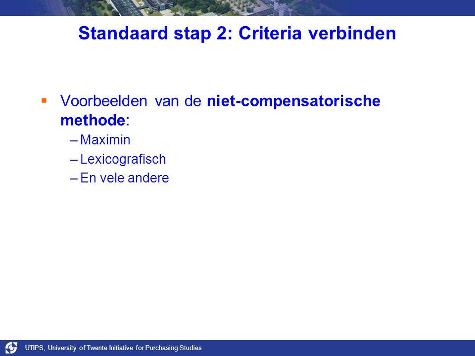 UTIPS, University of Twente Initiative for Purchasing Studies Standaard stap 2: Criteria verbinden  Voorbeelden van de niet-compensatorische methode: –Maximin –Lexicografisch –En vele andere