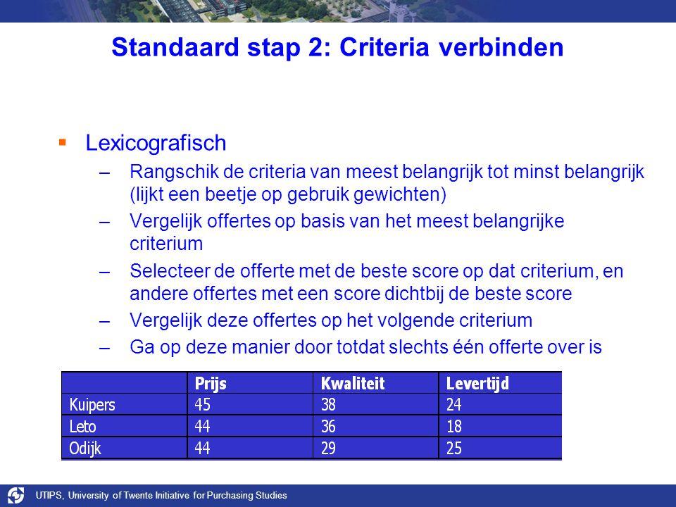 UTIPS, University of Twente Initiative for Purchasing Studies Standaard stap 2: Criteria verbinden  Lexicografisch –Rangschik de criteria van meest b