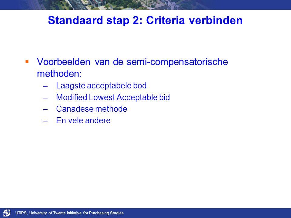 UTIPS, University of Twente Initiative for Purchasing Studies Standaard stap 2: Criteria verbinden  Voorbeelden van de semi-compensatorische methoden: –Laagste acceptabele bod –Modified Lowest Acceptable bid –Canadese methode –En vele andere