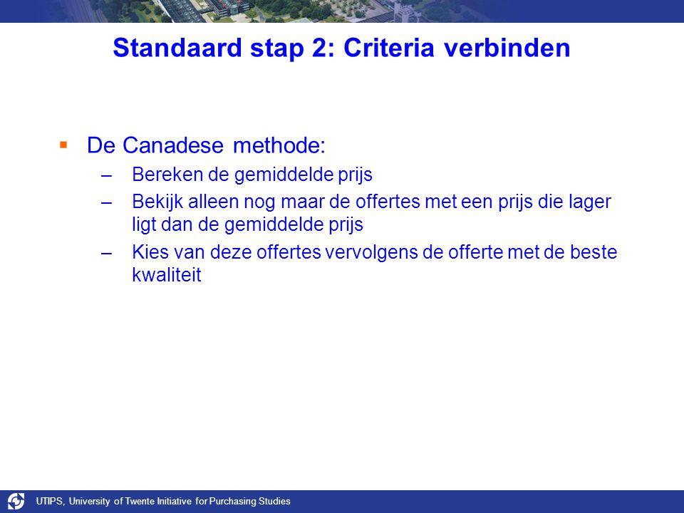 UTIPS, University of Twente Initiative for Purchasing Studies Standaard stap 2: Criteria verbinden  De Canadese methode: –Bereken de gemiddelde prijs
