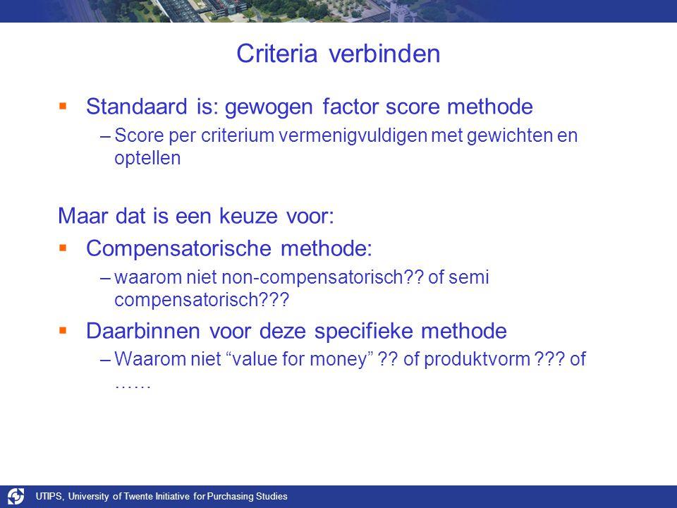 UTIPS, University of Twente Initiative for Purchasing Studies Criteria verbinden  Standaard is: gewogen factor score methode –Score per criterium vermenigvuldigen met gewichten en optellen Maar dat is een keuze voor:  Compensatorische methode: –waarom niet non-compensatorisch?.