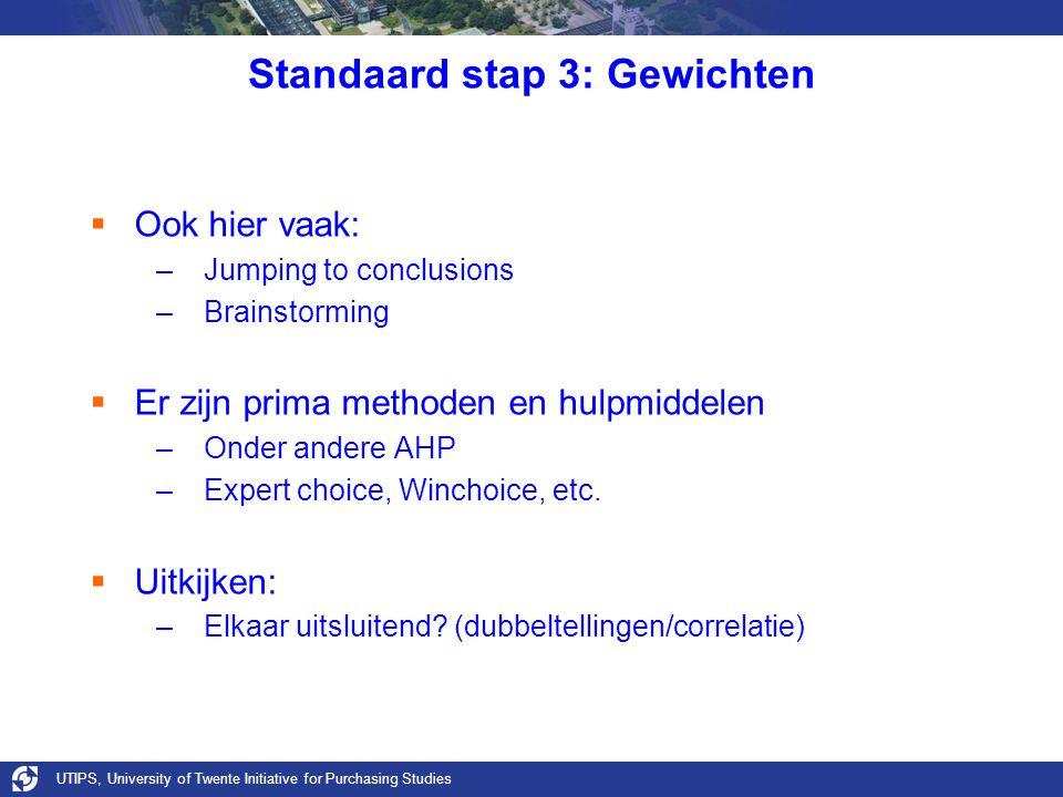 UTIPS, University of Twente Initiative for Purchasing Studies Standaard stap 3: Gewichten  Ook hier vaak: –Jumping to conclusions –Brainstorming  Er zijn prima methoden en hulpmiddelen –Onder andere AHP –Expert choice, Winchoice, etc.