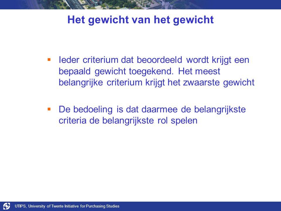 UTIPS, University of Twente Initiative for Purchasing Studies Het gewicht van het gewicht  Ieder criterium dat beoordeeld wordt krijgt een bepaald gewicht toegekend.