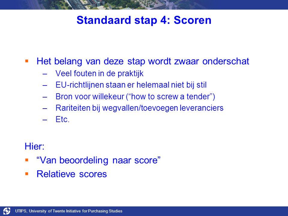 UTIPS, University of Twente Initiative for Purchasing Studies Standaard stap 4: Scoren  Het belang van deze stap wordt zwaar onderschat –Veel fouten