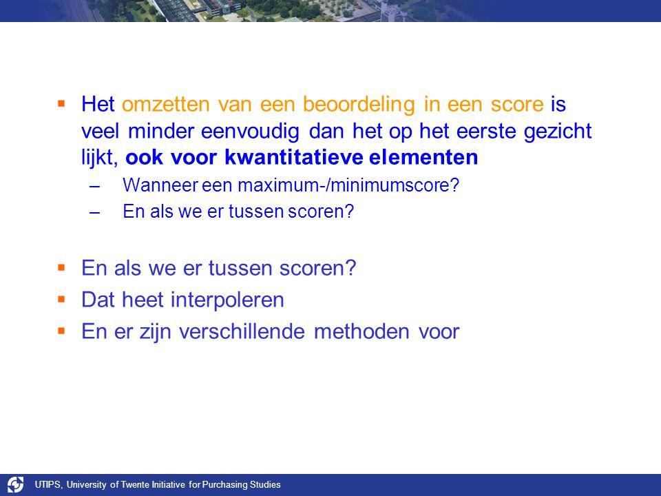 UTIPS, University of Twente Initiative for Purchasing Studies  Het omzetten van een beoordeling in een score is veel minder eenvoudig dan het op het eerste gezicht lijkt, ook voor kwantitatieve elementen –Wanneer een maximum-/minimumscore.
