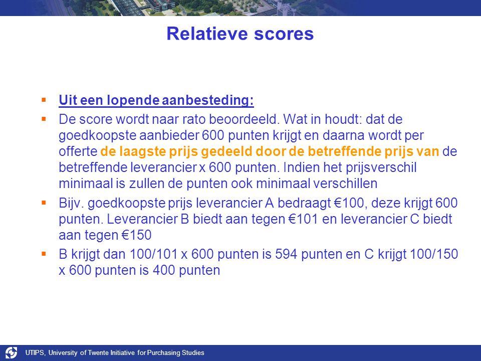 UTIPS, University of Twente Initiative for Purchasing Studies Relatieve scores  Uit een lopende aanbesteding:  De score wordt naar rato beoordeeld.