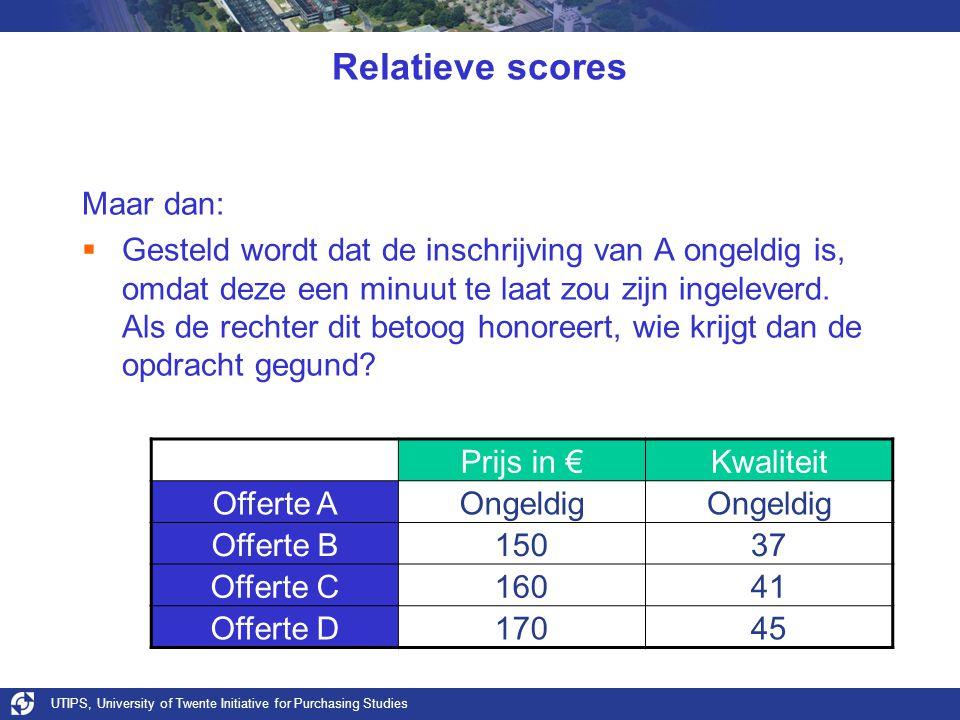 UTIPS, University of Twente Initiative for Purchasing Studies Relatieve scores Maar dan:  Gesteld wordt dat de inschrijving van A ongeldig is, omdat deze een minuut te laat zou zijn ingeleverd.