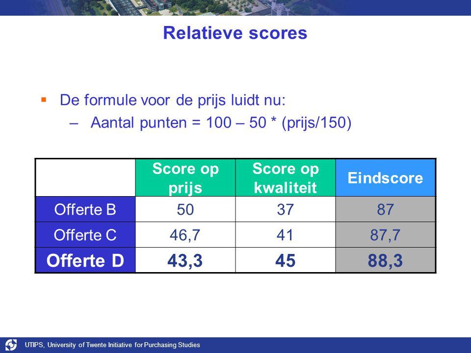 UTIPS, University of Twente Initiative for Purchasing Studies Relatieve scores  De formule voor de prijs luidt nu: –Aantal punten = 100 – 50 * (prijs/150) Score op prijs Score op kwaliteit Eindscore Offerte B503787 Offerte C46,74187,7 Offerte D43,34588,3