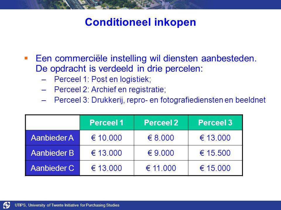 UTIPS, University of Twente Initiative for Purchasing Studies Conditioneel inkopen  Een commerciële instelling wil diensten aanbesteden.