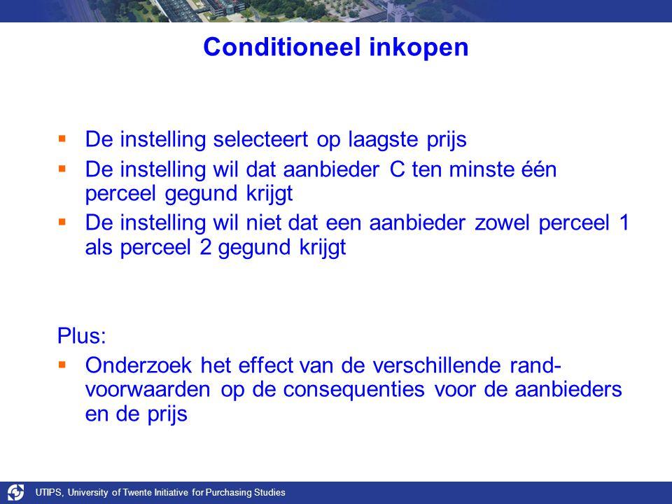 UTIPS, University of Twente Initiative for Purchasing Studies Conditioneel inkopen  De instelling selecteert op laagste prijs  De instelling wil dat