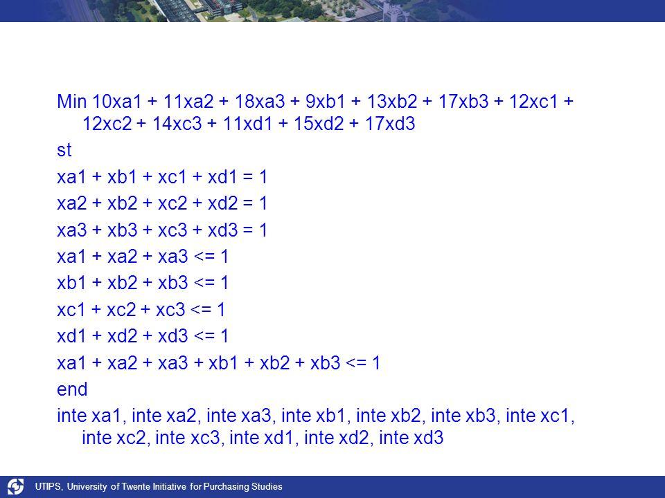 UTIPS, University of Twente Initiative for Purchasing Studies Min 10xa1 + 11xa2 + 18xa3 + 9xb1 + 13xb2 + 17xb3 + 12xc1 + 12xc2 + 14xc3 + 11xd1 + 15xd2