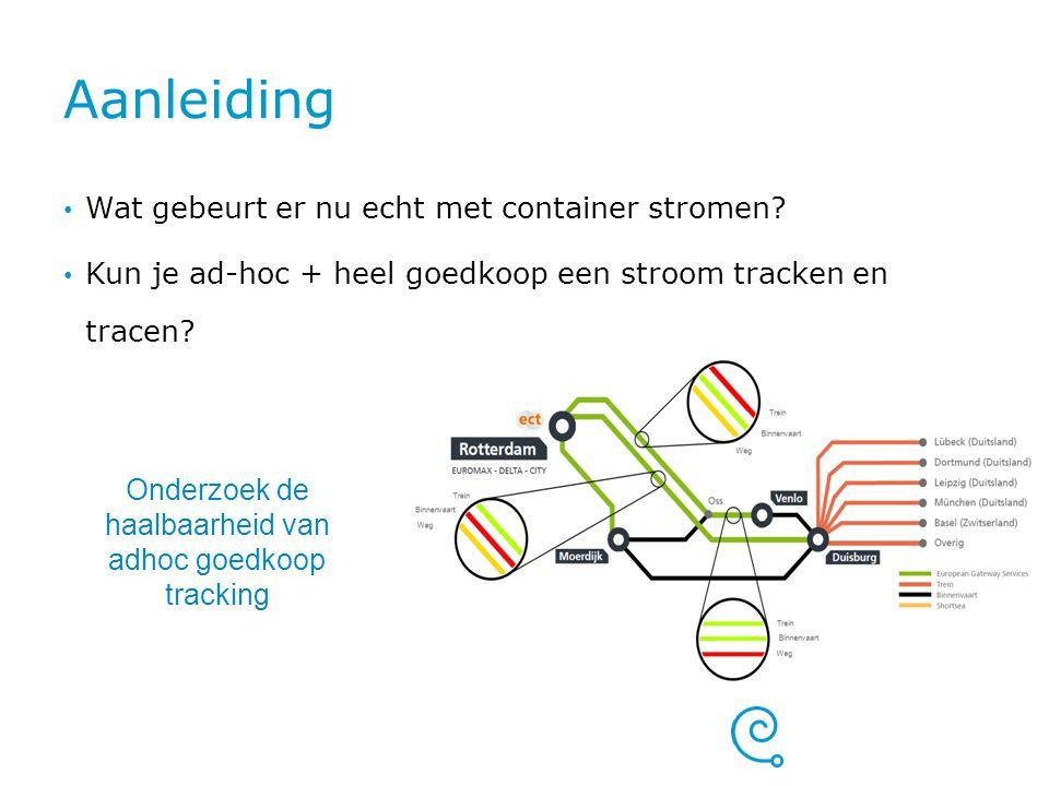 Aanleiding Wat gebeurt er nu echt met container stromen? Kun je ad-hoc + heel goedkoop een stroom tracken en tracen? Onderzoek de haalbaarheid van adh