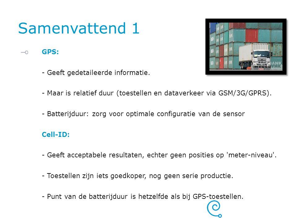 Samenvattend 1 GPS: - Geeft gedetaileerde informatie. - Maar is relatief duur (toestellen en dataverkeer via GSM/3G/GPRS). - Batterijduur: zorg voor o