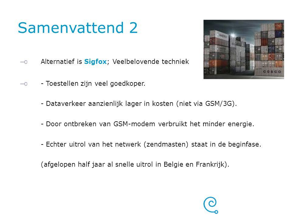 Samenvattend 2 Alternatief is Sigfox; Veelbelovende techniek - Toestellen zijn veel goedkoper. - Dataverkeer aanzienlijk lager in kosten (niet via GSM