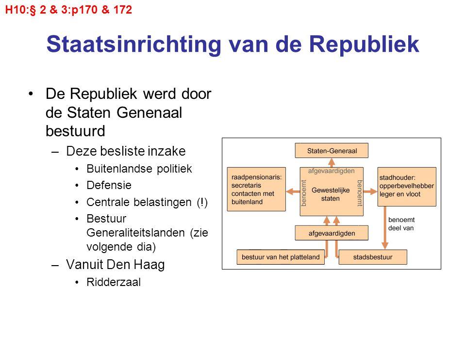 Staatsinrichting van de Republiek De Republiek werd door de Staten Genenaal bestuurd –Deze besliste inzake Buitenlandse politiek Defensie Centrale bel