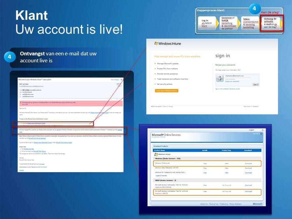 4 Ontvangst van een e-mail dat uw account live is Klant Uw account is live! 4