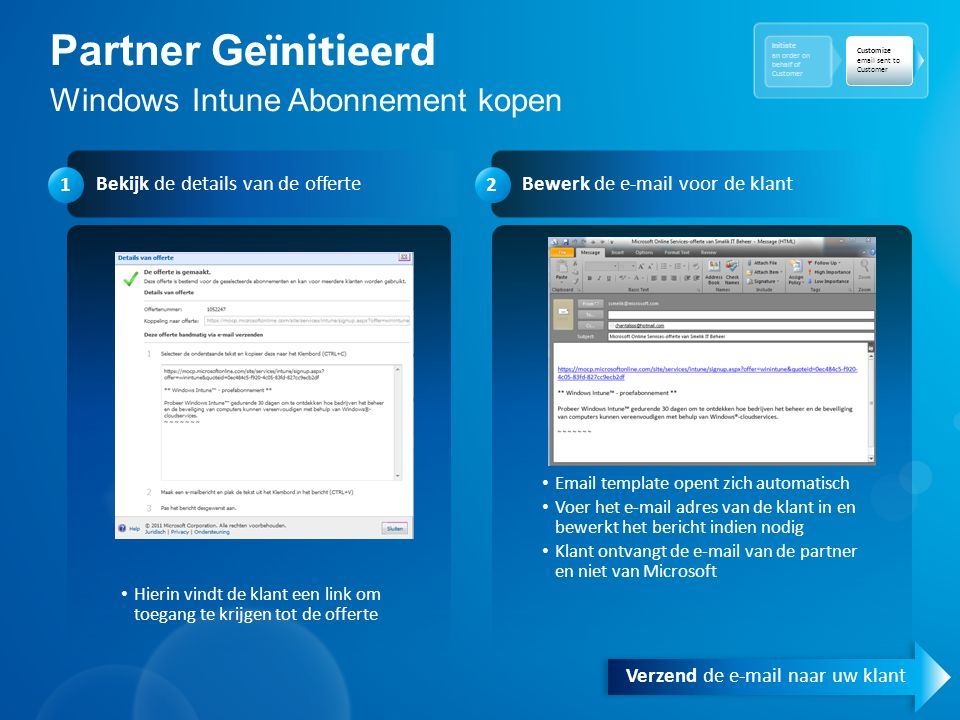 Partner Ge ïnitieerd Windows Intune Abonnement kopen Initiate an order on behalf of Customer Customize email sent to Customer Bekijk de details van de