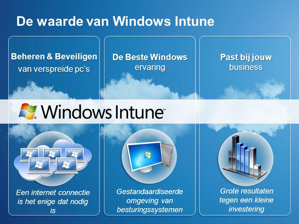 De waarde van Windows Intune Beheren & Beveiligen van verspreide pc's Een internet connectie is het enige dat nodig is De Beste Windows ervaring Gestandaardiseerde omgeving van besturingssystemen Past bij jouw business Grote resultaten tegen een kleine investering