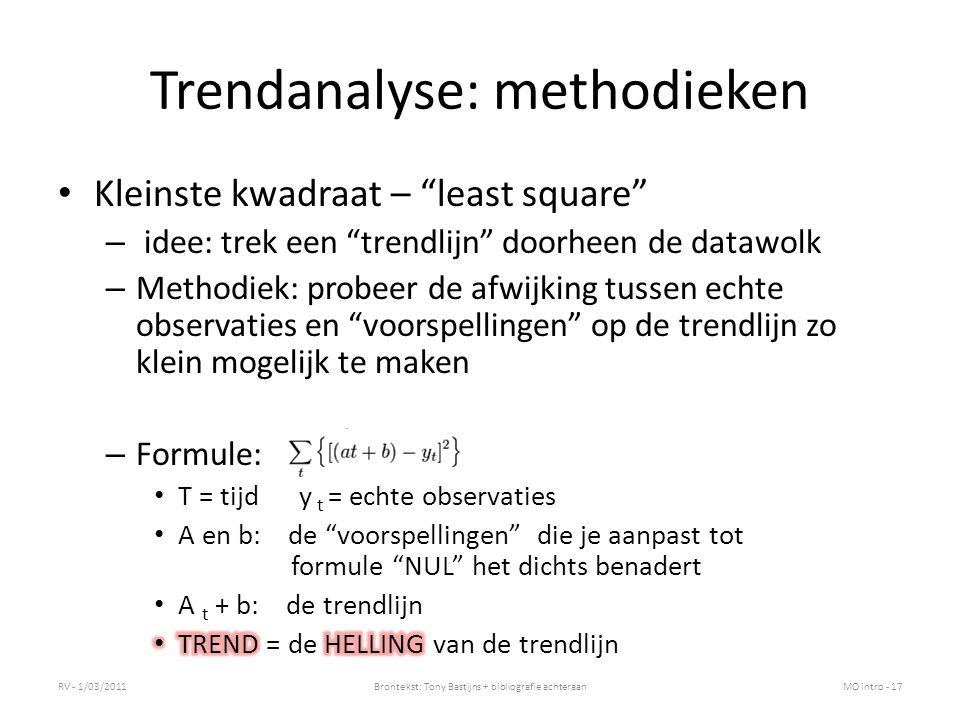 De waarheid over trendlijnen Doorheen hele datawolk kan je er een trendlijn trekken Hoe goed je ook bent: – Er gaat hier en daar altijd een afwijking zitten tussen je voorspelling en de echte data.