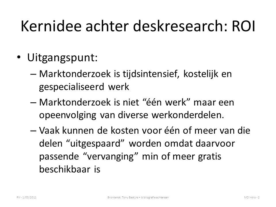 """Kernidee achter deskresearch: ROI Uitgangspunt: – Marktonderzoek is tijdsintensief, kostelijk en gespecialiseerd werk – Marktonderzoek is niet """"één we"""